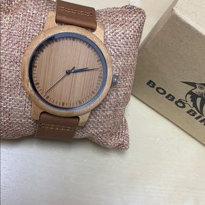 NWT Men's Crafted Bamboo Wood Leather Watch NEW